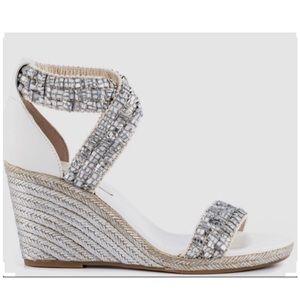 BCBGeneration Barca Silver Platform Wedge Sandals